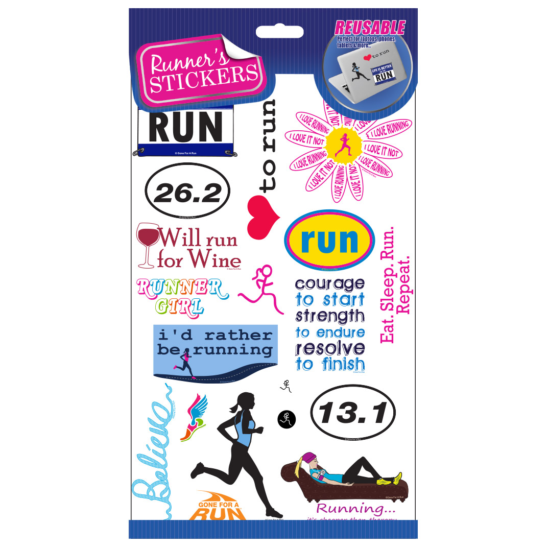Runners stickers reusable stickers and decals runners reusable sticker set for phones laptops mugs walls more amipublicfo Choice Image
