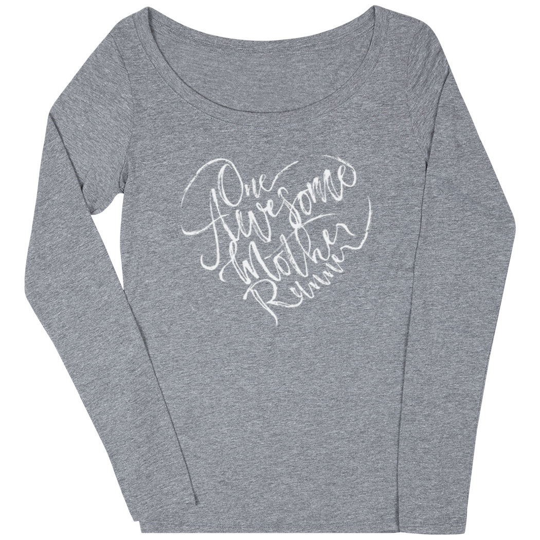 89917041a Women's Runner Scoop Neck Long Sleeve Tee - One Awesome Mother ...