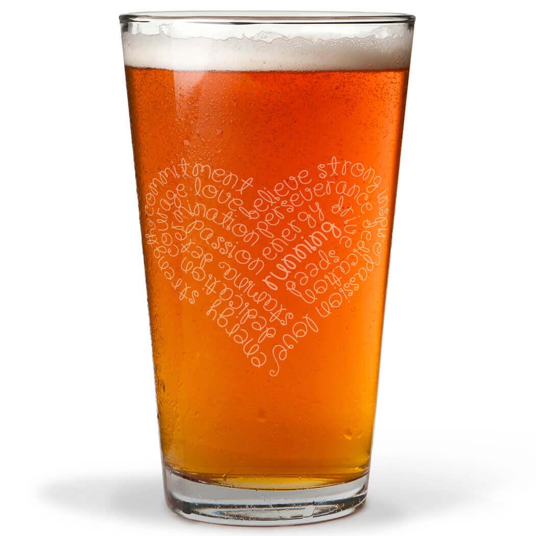 Running Inspirational Heart 16 oz Beer Pint Glass ...
