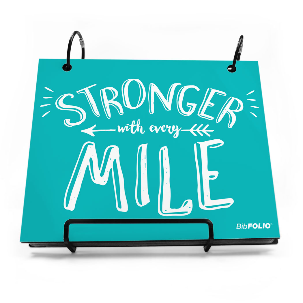 BibFOLIO® Race Bib Album - Stronger With Every Mile - Personalization Image
