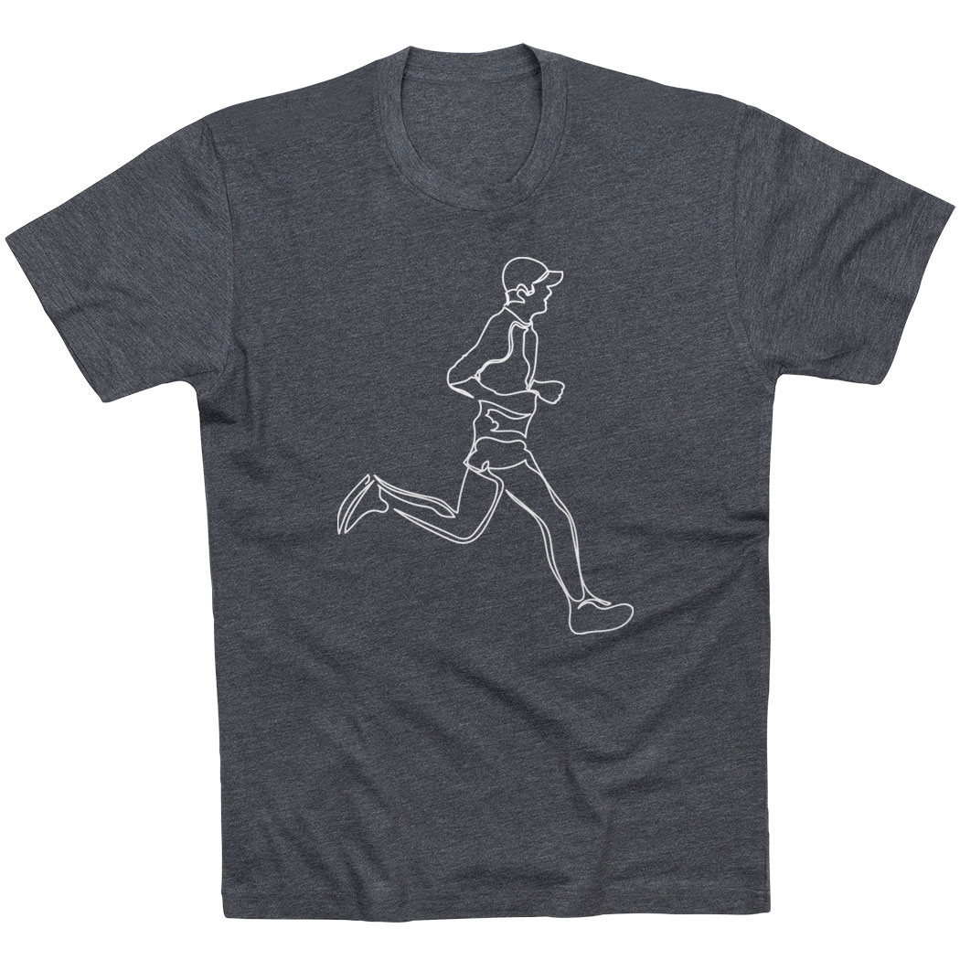 Running Short Sleeve T-Shirt - Runner Guy Sketch