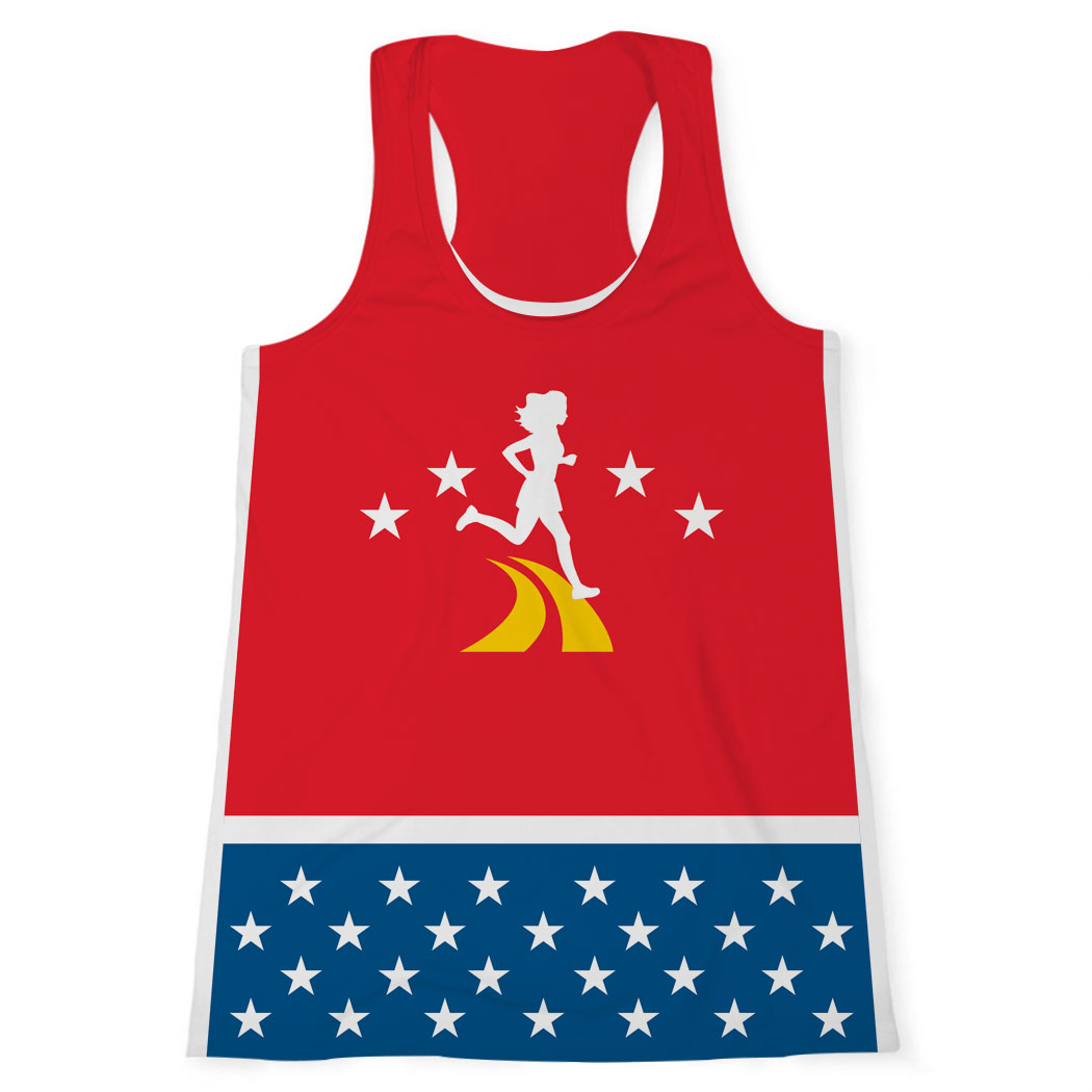 Women's Performance Tank Top - Super Runner with Stars