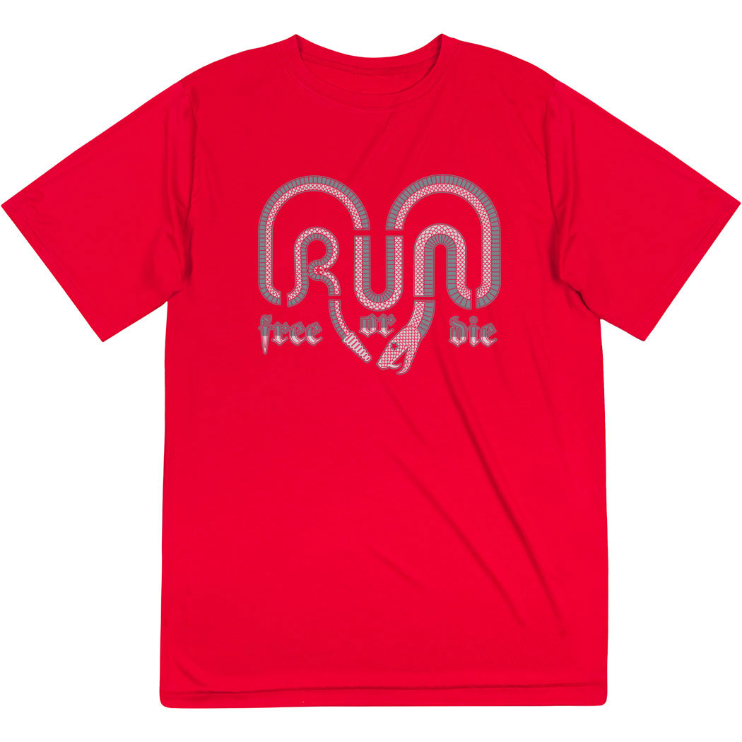 Men's Running Short Sleeve Tech Tee - Run Free Or Die Snake