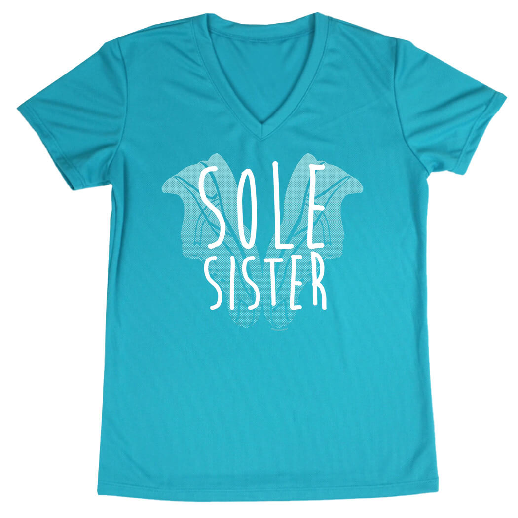 Women's Running Short Sleeve Tech Tee Sole Sister Shoe Heart