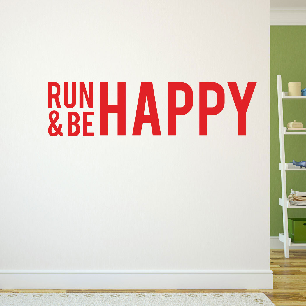 Run and be happy removable wall decal running decals running run and be happy removable goneforarungraphix wall decal amipublicfo Choice Image