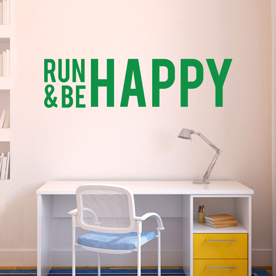 Run and be happy removable wall decal running decals running run and be happy removable goneforarungraphix wall decal publicscrutiny Choice Image