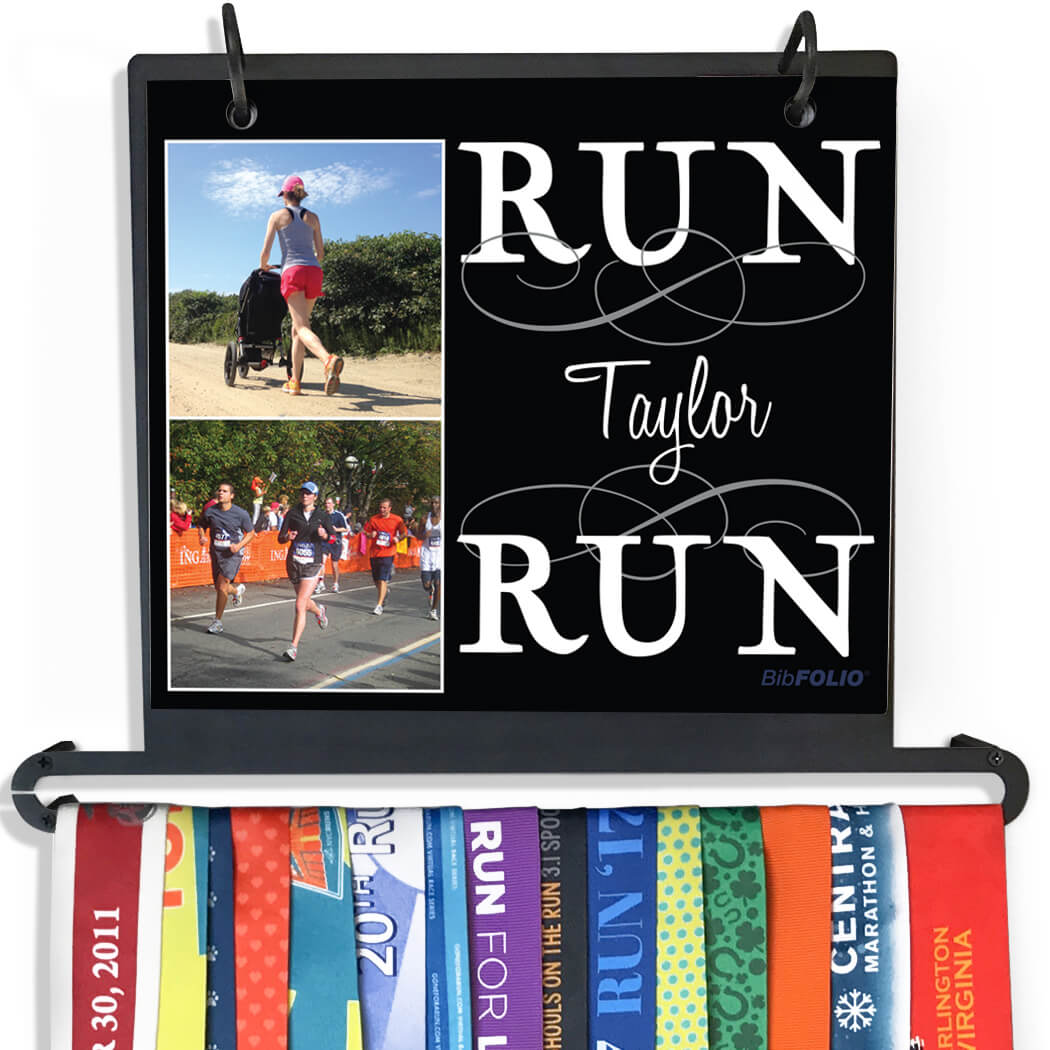 BibFOLIO+™ Race Bib and Medal Display Run Your Name Run With Your Photos - Personalization Image