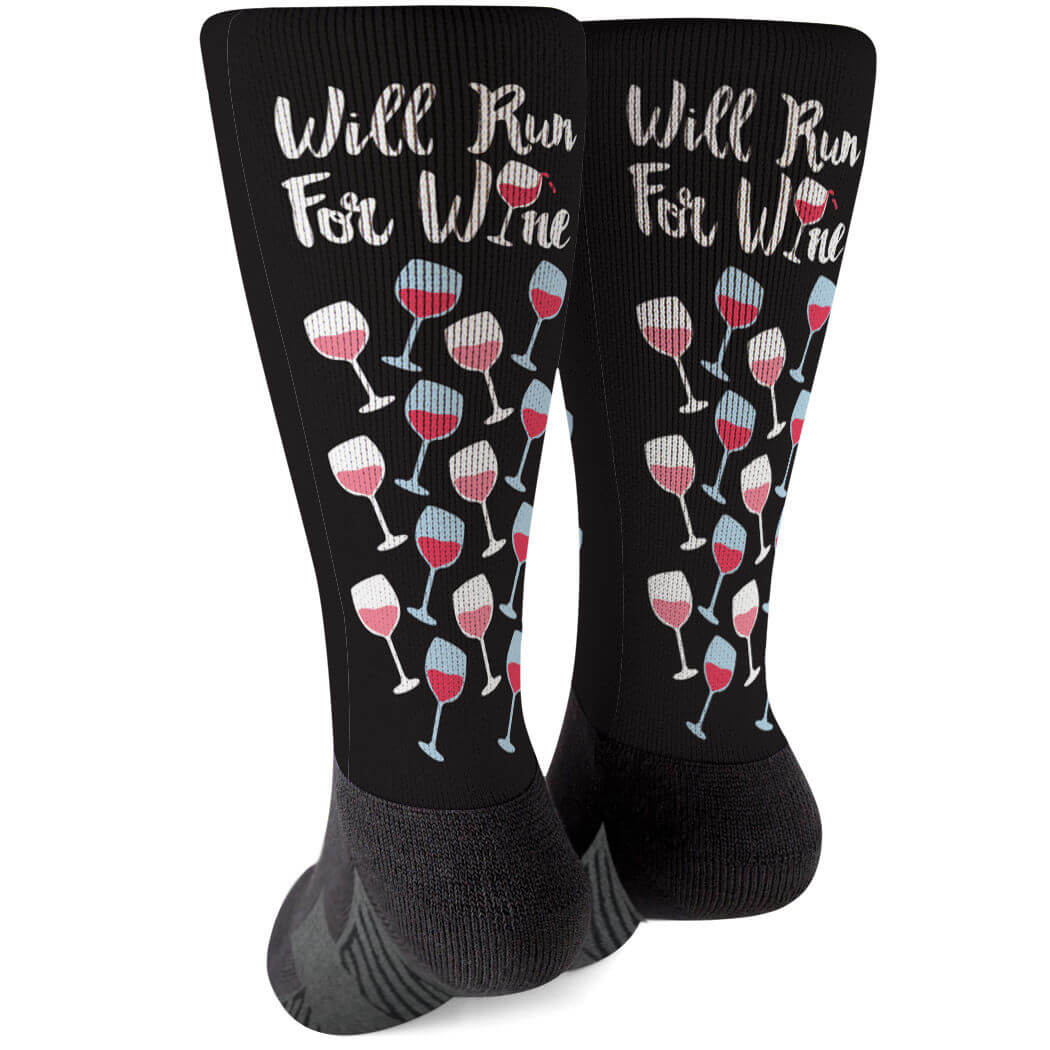 6d81d0d2715 Running Printed Mid-Calf Socks - Will Run For Wine Click to Enlarge
