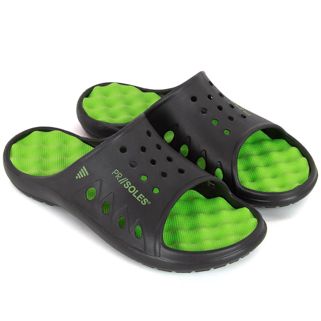 ... PR SOLES® Recovery Sandals - Black/Neon Green ...