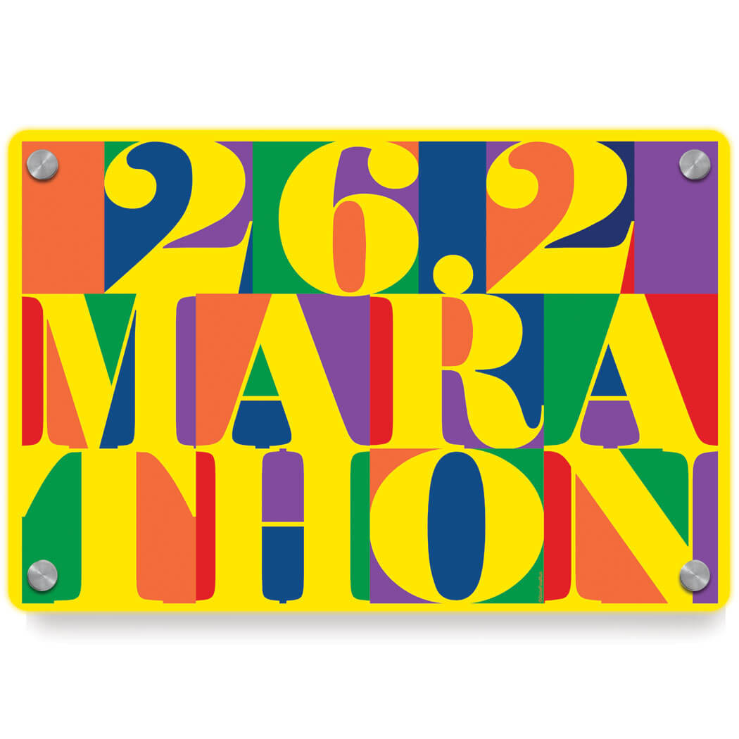 Running Metal Wall Art Panel - 26.2 Marathon Mosaic | Gone For a Run