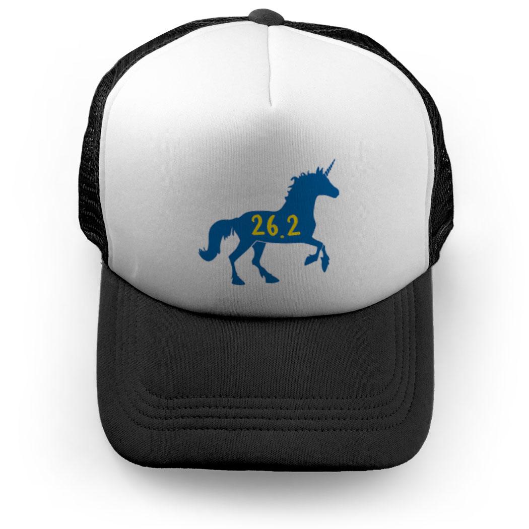 aaf459dbb75 Running Trucker Hat - Believe Boston Unicorn 26.2