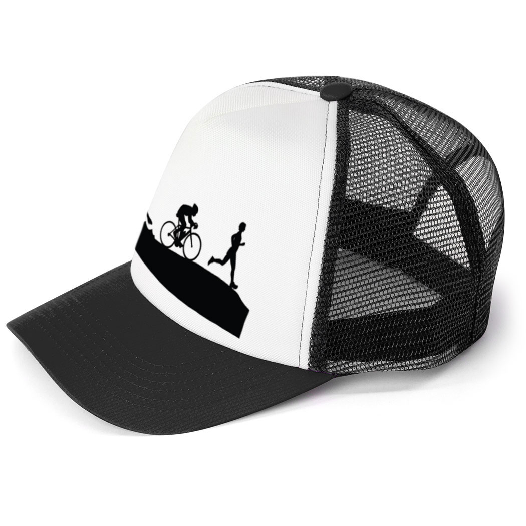 cbc47dc5b85 ... Triathlon Trucker Hat Swim Bike Run Silhouettes ...