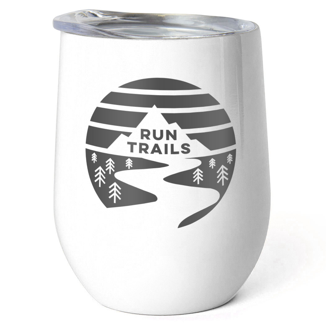 Running Stainless Steel Wine Tumbler - Run Trails Sunset