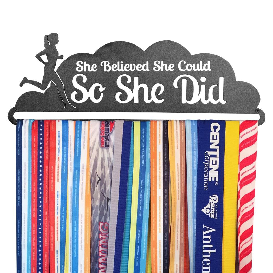 Details about  /She Believed She Could So She Did Medal Display Rack Holder Hanger Organizer