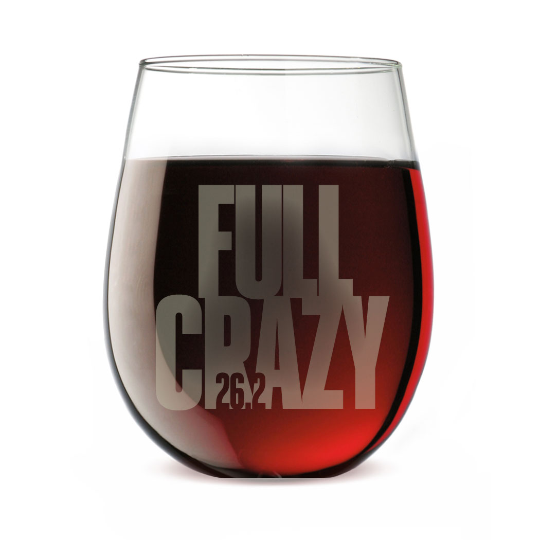Running Stemless Wine Glass 26.2 Full Crazy - Personalization Image