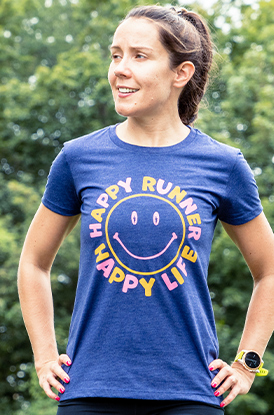 Shop Our Fitted Happy Runner Happy Life Tee