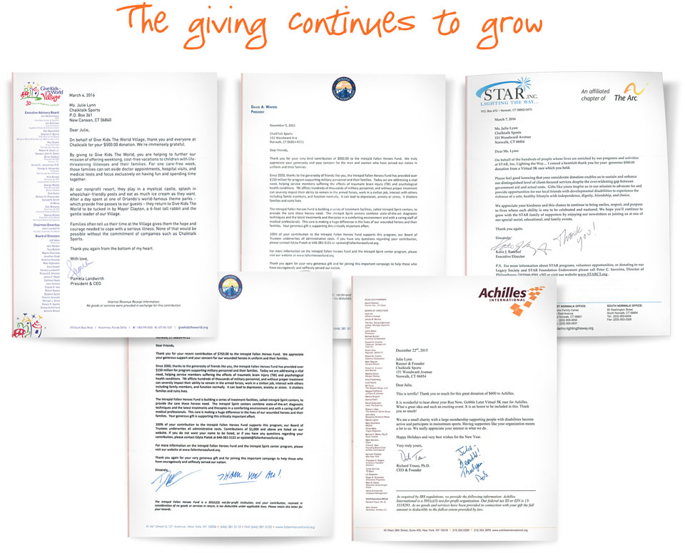 Gone For a Run Virtual Race Charity Letters